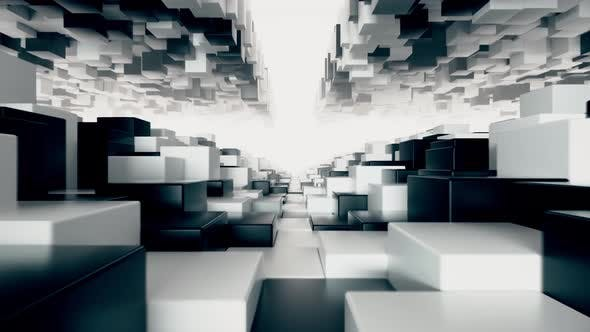 Thumbnail for Abstract Geometric Tunnel Made of Black and White Cubes with Random Movement. Seamless Loop 3d