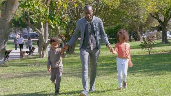 Happy African American Father Holding Hands with Kids and Walking on Grass