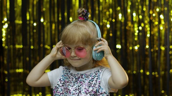 Thumbnail for Child Dances, Listens Music on Headphones. Little Kid Girl Dancing, Having Hun, Relaxing, Enjoying