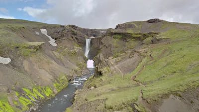 Aerial View of Waterfalls in Volcanic Nature in Iceland