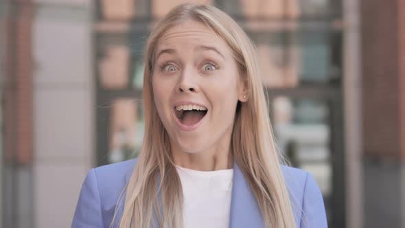 Cover Image for Blonde Businesswoman Surprised by Results