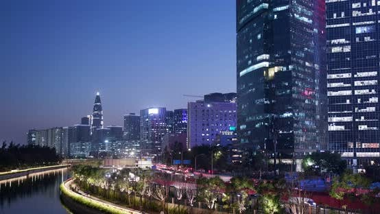 Thumbnail for Shenzhen city, business district at night