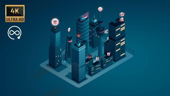 4K - İsometric Cloud Smart City II
