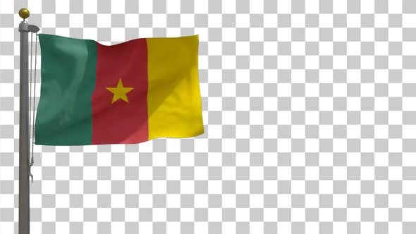 Thumbnail for Cameroon Flag on Flagpole with Alpha Channel - 4K