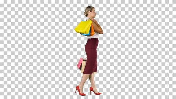 Thumbnail for Happy Shopping! Womanholding Multicolored Shopping Bags And