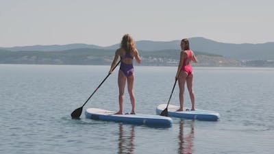 Stand Up Paddle Surfing on Lake