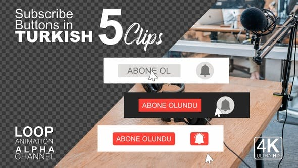 Subscribe Buttons in Turkish Language
