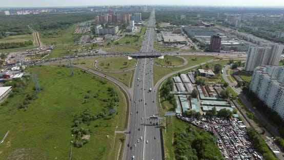 Cover Image for Aerial Moscow Panorama with Busy Highways and Intersection, Russia