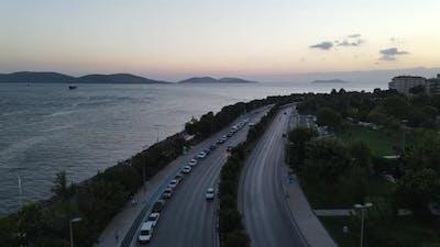 City Evening Traffic in Seashore