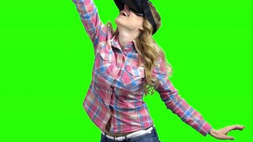 Happy Woman Wearing Virtual Reality Googles
