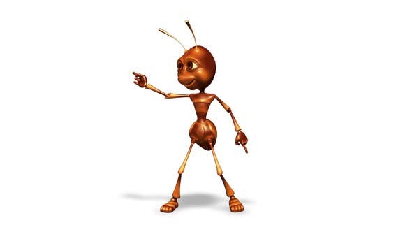 Cartoon 3D Ant Dance  Looped on White Background