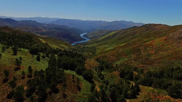 Thumbnail for Top View Of A River In The Mountains On A Sunny Day. Top View Wild River