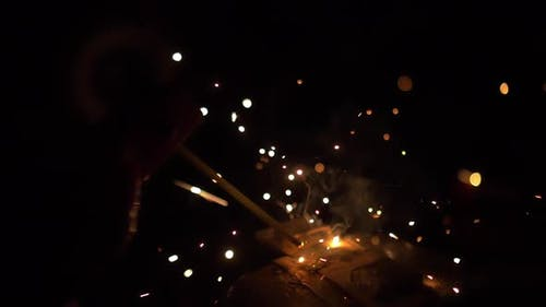Welding Sparks And Smoke Slow Motion