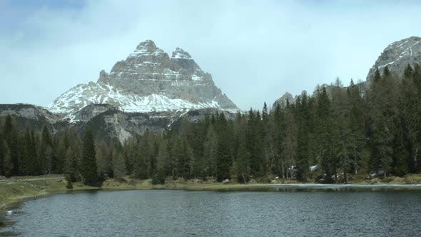 Thumbnail for View of Three Peaks Mountain Across Misurina Lake Largest Natural Lake in Region