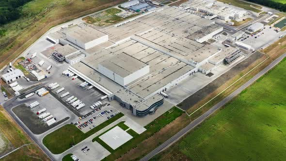 Aerial view of a large modern industrial factory. Industrial background. Logistics from above