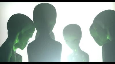 Aliens Watching With A Green Light