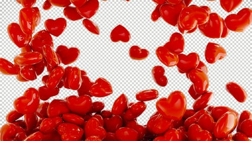 3D Falling Hearts Transition for Valentine's Day