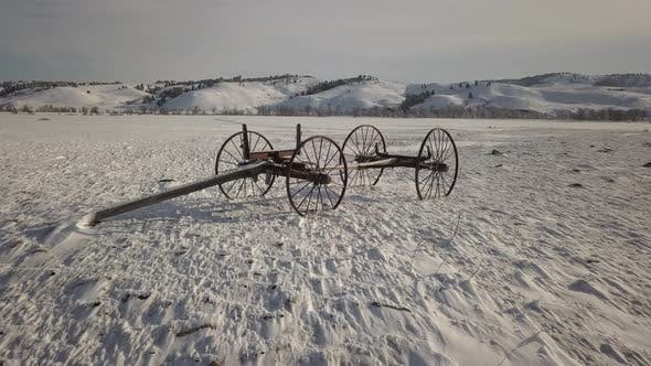 History Custer State Park in Winter Old Wagon Wagon Abandoned Lone Pioneer Settler