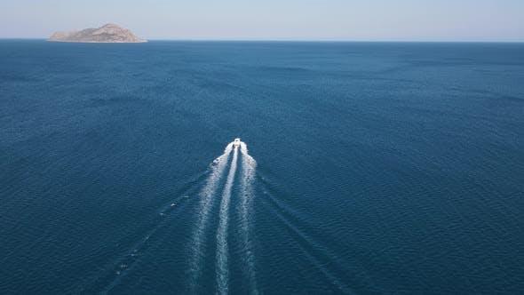 Speedboat Island Drone Blue Waters