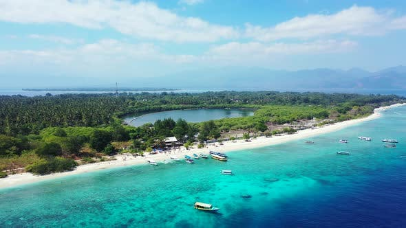 Thumbnail for Tropical birds eye island view of a sandy white paradise beach and blue water background in hi res 4
