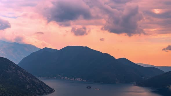 Rain Clouds at Sunset in the Side of the Bay of Kotor