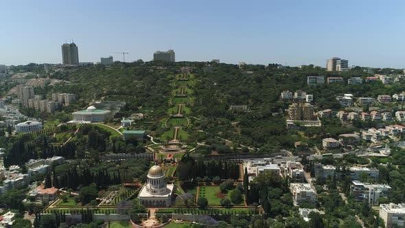 Aerial of Baha'i Gardens with Shrine of the Bab