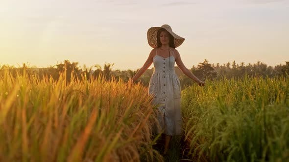 Thumbnail for Sensual Young Woman in White Dress Enjoying in Violet Lavender Filed at Beautiful Summer Sunset