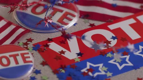 VOTE banners, buttons and confetti, election concept