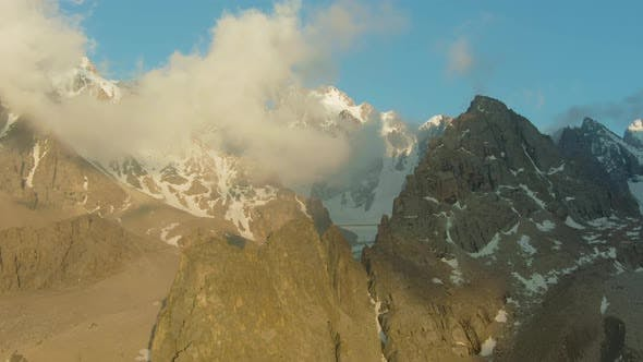 Tian Shan Mountains and Rocks at Sunset. Kyrgyzstan. Aerial View