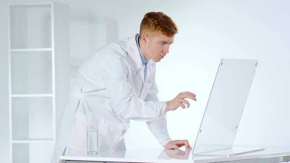 Thumbnail for Caucasian Doctor Working on Invisible Interactive Screen