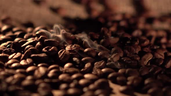 Thumbnail for Coffee Beans with Star Anise on Barrel, Cam Moves To the Right, Close Up