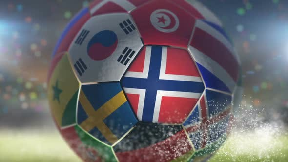 Thumbnail for Norway Flag on a Soccer Ball - Football in Stadium