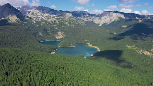 Aerial View on Turquoise Lake and Mountains with Pine Forest in National Park Durmitor Montenegro