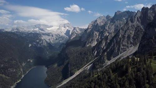 Aerial of Gosaukamm and Gosausee, Austria