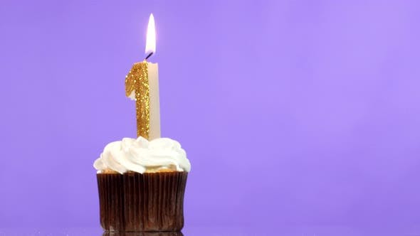 Thumbnail for Birthday Cupcake with Candle Number One.