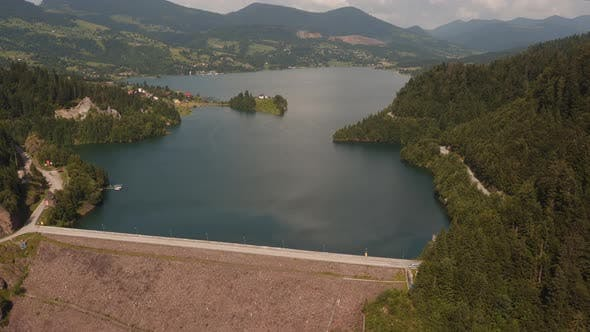 Thumbnail for Aerial view of an artificial lake