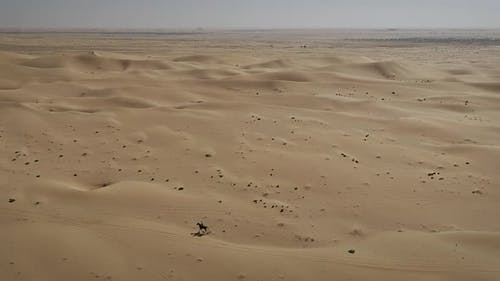 Aerial view of one person riding horse in the desert of Al Khatim in Abu Dhabi.