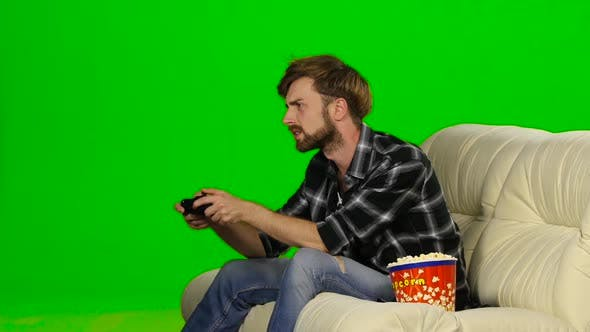 Man Lost in a Computer Game. Green Screen
