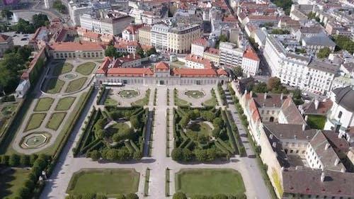 Aerial View of Belvedere Palace . Vein. Vienna. Wien. Austria.