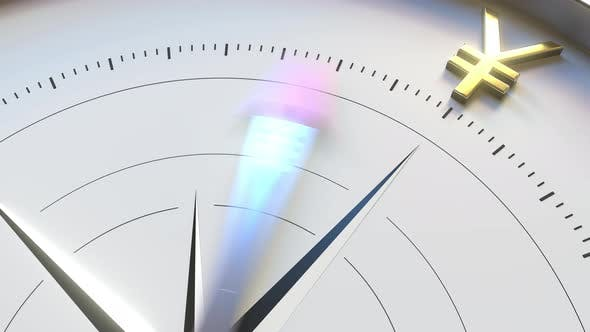 Thumbnail for Compass Arrow Turns Towards JPY Yen Symbol