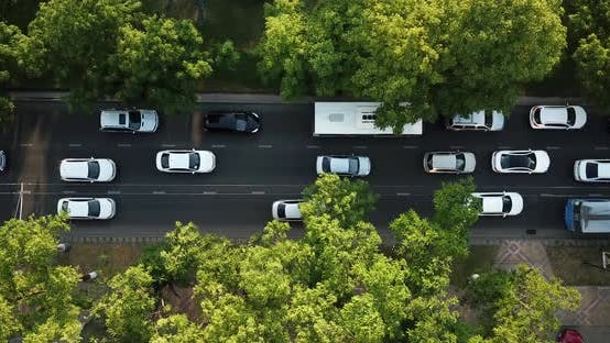Thumbnail for Aerial Top Down View of Freeway Busy City Rush Hour Heavy Traffic Jam Highway