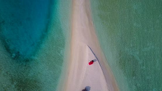 Cover Image for Natural aerial tourism shot of a sunshine white sandy paradise beach and aqua turquoise water backgr