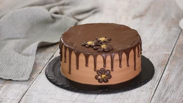 Thumbnail for Confectioner-baker decorate beautiful cream cake with chocolate flowers.