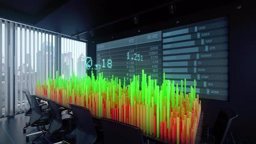 Charts Diagrams of Financial Statistics report in Office Interior