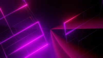 Rotating Wireframe Pink Cube