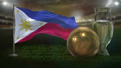 Philippines Flag With Football And Cup Background Loop