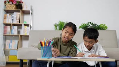 Asian sister and brother drawing