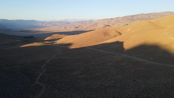 Aerial shot of some remote desert mountains in California
