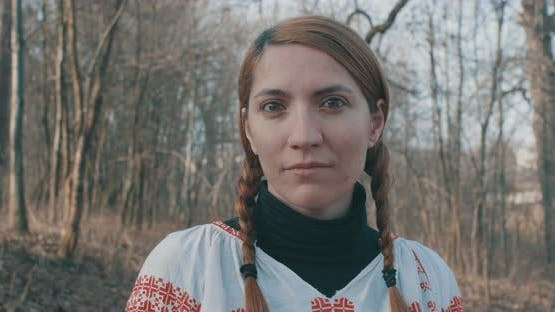 Romanian Traditional Woman With Pigtails