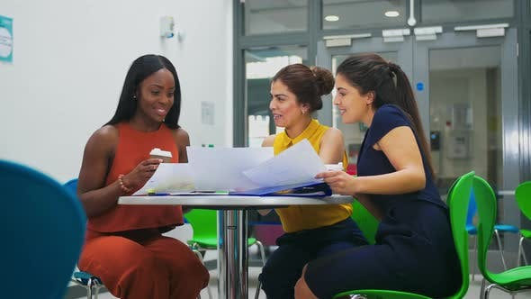Thumbnail for Businesswomen looking at documents
